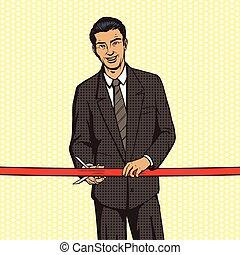 Man cuts red ribbon pop art style vector