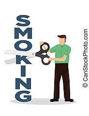 Man cuts smoking font with a scissors. Concept of quit ...