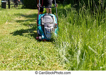 Man cutting grass with an electro lawnmower in his garden