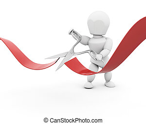 man cutting red ribbon with scissors - 3D render of a man...