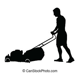 Man cutting the grass with lawn mower vector silhouette