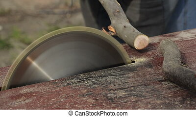 Man Cutting Wood with Circular Saw
