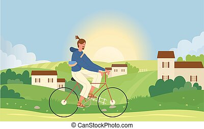 Man cycling in summer nature landscape, riding bicycle