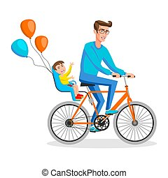 Man cycling with his boy. Kid sitting on bike safe seats in back Vector illustration of a flat design