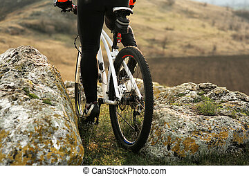 Man cyclist riding the bicycle