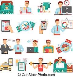 Man Daily Routine Icon Set - Man daily routine icon set with...