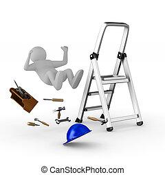man, dalingen, van, ladder, op wit, achtergrond., vrijstaand, 3d, beeld