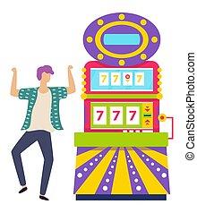 Man Dancing by Slot Machine, Lucky Sevens Jackpot