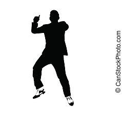 man dancing gangnam in silhouette over white