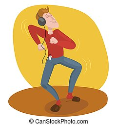 Man dancing in headphones vector illustration