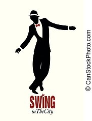 Man dancing swing, lindy hop or rock and roll