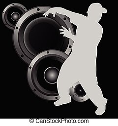 man dancing with speaker illustration vector