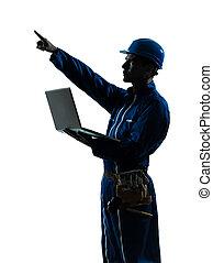 man, de arbeider van de bouw, gegevensverwerking, computer, silhouette, verticaal
