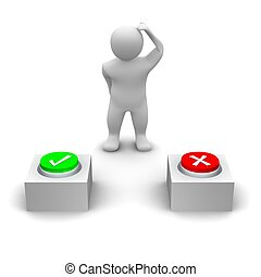 Man deciding which button to press. 3d rendered illustration.