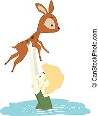 Man Deer Save River Crossing Illustration