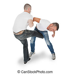 Man defending an attack from another man, selfdefense, ...