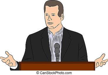Man Delivering a Speech vector