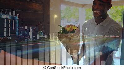 Man delivering flowers 4k
