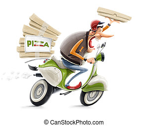 man delivering pizza on bicycle illustration isolated on...