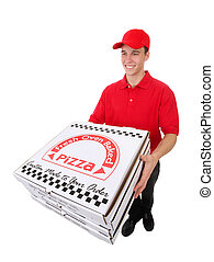 Man Delivering Pizzas - A handsome young man delivering ...