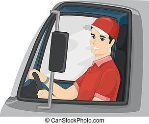 Man Delivery Truck Driver - Illustration of a Delivery Truck...
