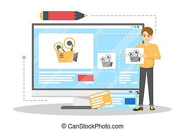 Man design a video blog in social network