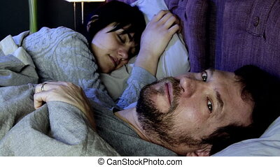 Man desperate crying in bed