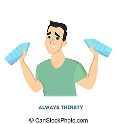 Man diabetes symptoms. Always thirsty and wants water.