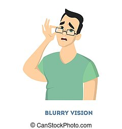 Man diabetes symptoms. Man with blurry vision.