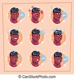 Man Different Face African American Male Emoji Wearing 3d Virtual Glasses Emotion Icon Avatar Facial Expression Concept