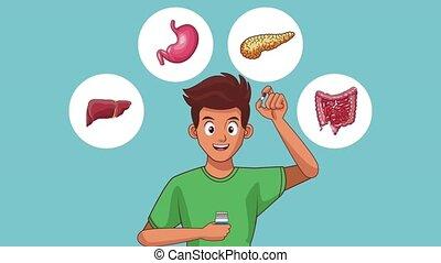 Man digestive system HD animation