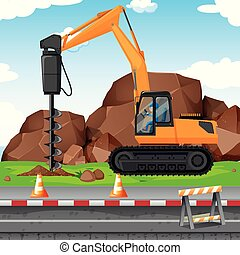 Man digging hole with drill at the construction site