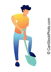 Man digging the ground with shovel vector illustration.