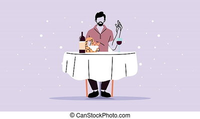 man dinning in elegant restaurant animation ,4k video animated