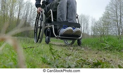 man disabled moving rides wheelchair riding video walk on...