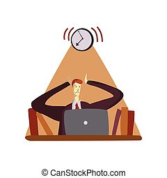 Man dissatisfied with the alarm bell. Vector illustration on white background.