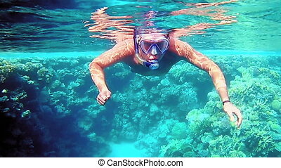 Man dive underwater in snorkeling diving mask into clear...