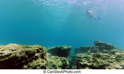 Man dive underwater with snorkel and mask in Mediterranean...