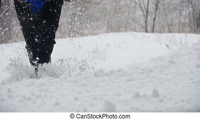 Man dives head first into the Deep Snow and Have Fun in the...