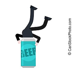 Man dives into beer. Iron can beer. Alcoholic vector illustration