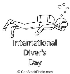 man diving with a mask. international diver day. isolated outline vector illustration