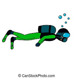 man diving with a mask. isolated vector illustration