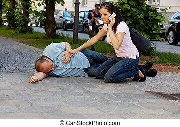 Man dizziness or heart attack - A man has a dizzy spell or a...