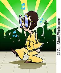 man do weird dance - illustration  of a man do weird dance