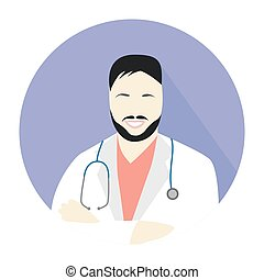 man doctor icon - Illustration in style of a flat design ...