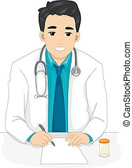Man Doctor Prescription - Illustration of a Male Doctor...