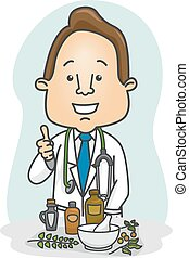 Illustration of a Male Doctor Doing the Thumbs Up in Front of Herbal Medicines