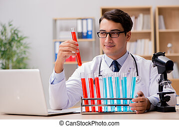 Man doctor working in the lab