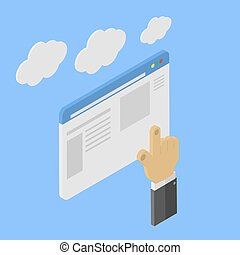 Man does a search in web page. Isometric  illustration.