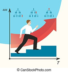 Man does career. Man goes on a career ladder. Career growth...